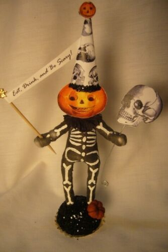 Vintage Inspired Spun Cotton Skeleton Pumpkin no. 223