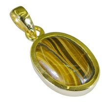 cute Tiger Eye Gold Plated Brown Pendant genuine simply US gift - $9.89