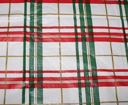Vintage 52 x 52 White Vinyl Christmas Tablecloth Flannel Back Red Green ... - $12.82