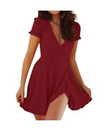 Women Summer elbise Sexy Deep V neck Short Sleeve Casual Slim Girl Waist... - $19.60