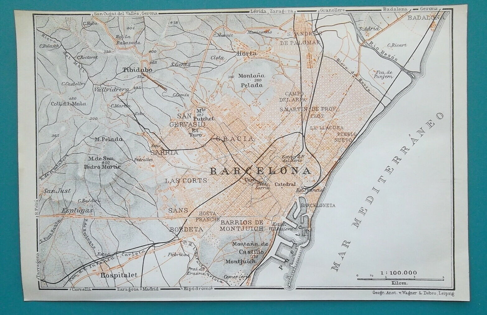 "Primary image for SPAIN Barcelona & Environs - 1913 Baedeker Map 4 x 6"" (10 x 15 cm)"