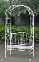 Garden Metal Bench Outdoor Ornate Dome Patio Vintage Settee Porch Furnit... - $209.08