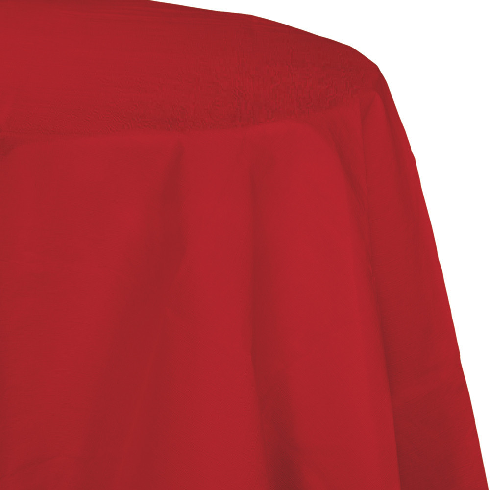 82 inch Octy Round Tissue/Poly Tablecover Classic Red/Case of 12