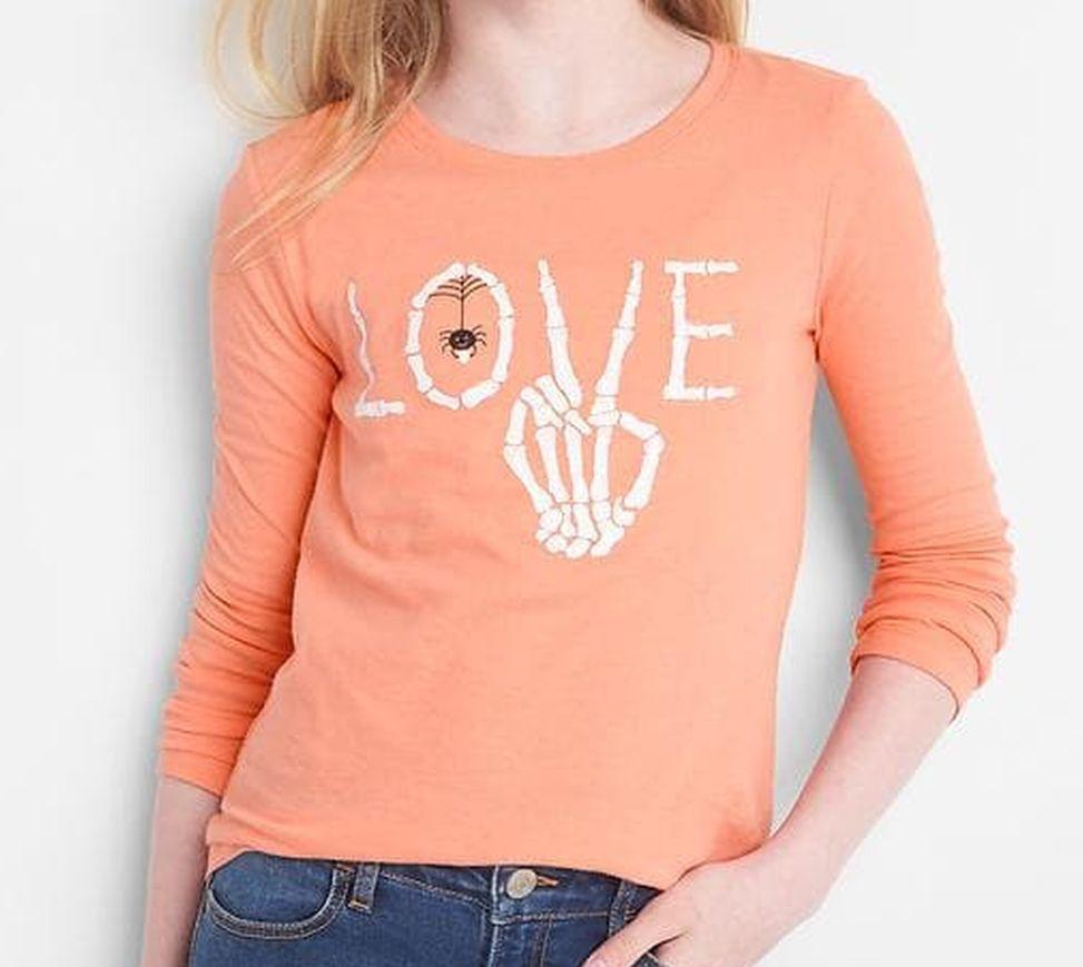 Gap Kids Girls Tee Shirt 12 Orange Long Sleeve Crew Neck LOVE Graphic Cotton New