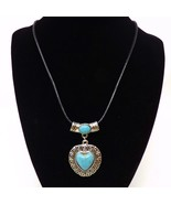 Silver Turquoise Heart Pendant Necklace w/ Black Cord - New - $12.34