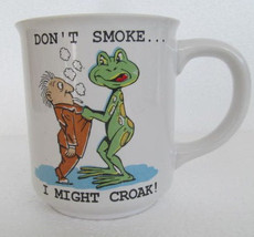 "1987 ""Don't Smoke I Might Croak"" White Porcelain Novelty Collectible Cof... - $14.99"