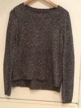 Forever 21 Fine Knit Deluxe Black Silver Crew Neck Long Sleeve Sweater S Small - $13.95