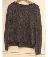 FOREVER 21 FINE KNIT DELUXE BLACK SILVER Crew Neck Long Sleeve SWEATER S... - $13.95