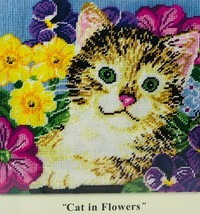 Design Works Needlepoint Kit Cat in Flowers 10x10in 2516 Factory Sealed - $9.12