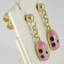 EARRINGS BABY GIRL YELLOW GOLD 750 18K HANGING, AUTOMOBILE PINK, LONG 18 MM image 1