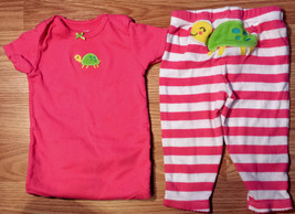 Girl's Size 9 M Months Two Pc Carter's Pink Turtle Embroid Top & Striped... - $15.00