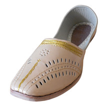 Men Shoes Indian Handmade Traditional Loafers Cream Leather Mojaries US 9  - $34.99
