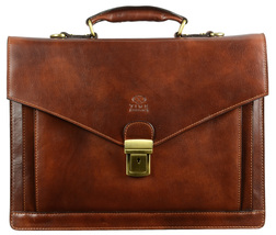 New Time Resistance Brown Leather Briefcase Document Folder Laptop Bag - $204.00