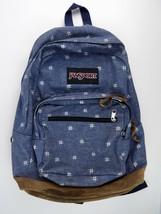 Jansport Originals Denim Backpack Leather Bottom Preowned 3-zip Pockets - $17.19
