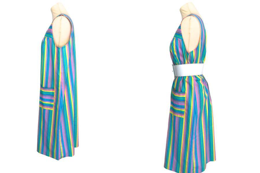 60s/70s French Vintage Candy Pastel Stripe Cotton Sun Dress, Blue, Green, Pink,  image 6