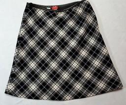 Womens sz 4 Anne Klein Plaid Virgin Wool Skirt leather trim white  318-s... - $42.94