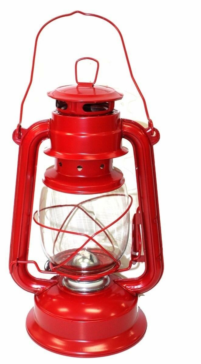 Lot of 2 Red Hurricane Lantern Hanging Emergency Camping Kerosene Oil Lamp Light