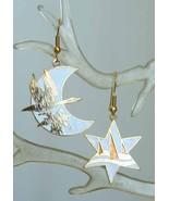 Fabulous White Cloisonne Enamel Wild Goose Crescent Moon & Star Earrings  - $14.95