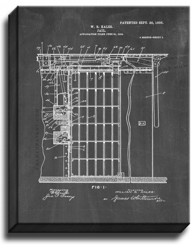 Primary image for Jail Patent Print Chalkboard on Canvas