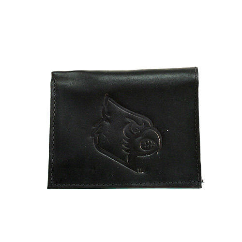 Primary image for NCAA Louisville Cardinals Wallet Team Black Tri-Fold Leather Brand New Logo Men