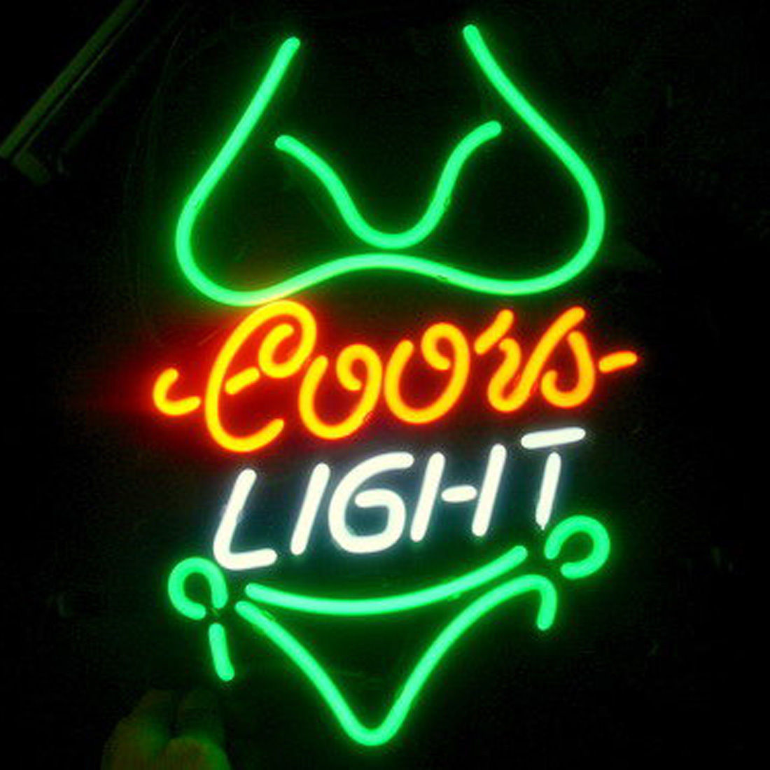 Bikini Coors Light Neon Sign Handcrafted Real Glass Tube