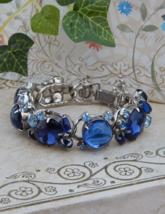 WEISS Blue Bracelet Rhinestones Sapphire Blue Cabochons, Estate Jewelry,... - $229.00