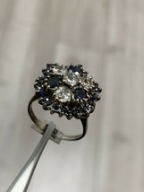 Vintage Sapphire And Diamond Cluster Ring 18k White Gold Size N BHS - $958.01
