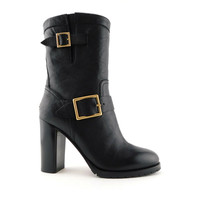 New JIMMY CHOO Size 6.5 DART Black Leather Double Buckle Ankle Boots 36.5 Eur - $589.00