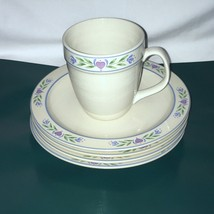 5 Piece Lot Tienshan Laurel Hearts Stoneware 4 Salad Plates 1 Mug Oven t... - $19.79