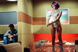 UFO Gabrielle Drake Undressing High Heel Silver Boots Purple Wig 18x24 Poster - $23.99