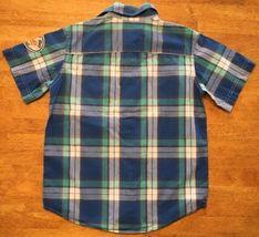 Gap Kids Boy's Blue, Green & White Plaid Short Sleeve Dress Shirt - Size: Medium image 12