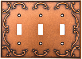 Brainerd French Lace 3-Gang Sponged Copper Triple Toggle Wall Plate - $21.74