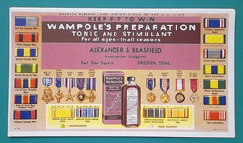 WAMPOLE'S Tonic + WWII US Army Service Ribbons - 1950s INK BLOTTER AD Dr... - $8.55