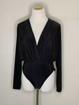 Nastygal Bodysuit V Right There Long Sleeve V-Neck Black Sz 6 NWT - $14.95