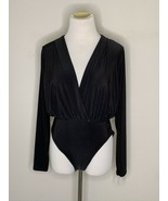 Nastygal Bodysuit V Right There Long Sleeve V-Neck Black Sz 6 NWT - $14.95