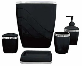 Carnation Home Fashions 5-Piece Plastic Bath Accessory Set, Black (Black) - £21.20 GBP