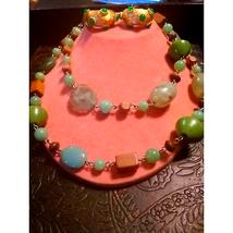 Natural Stone Vtg Necklace & Earring Set - $20.79