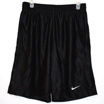 Nike Basketball Men's Black Mesh White Swoosh Athletic Shorts Size M