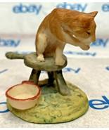 "Lowell Davis ""Milking Time"" Figurine Schmid Cat Bowl 225023 - $54.43"