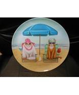 "Round Melamine Plate 10 1/4"" - Cats Sitting On Beach Chairs Under Umbrellas - $9.85"