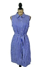 NWT TOMMY HILFIGER $129 Blue White Striped Belted Shirt Dress 10 Seamed ... - $48.00
