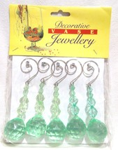 HOOK HANGER GREEN BEADS SILVER WIRE SCROLL FLORAL CHRISTMAS HOLIDAY DECO... - $10.99