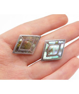 MEXICO 925 Silver - Vintage Abalone Shell Inlaid Pattern Cuff Links - T2149 - $30.89