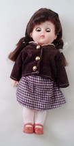 1980s Vogue Ginny Doll Sleep Eyes All Original Brown Checkered Jumper Ja... - $16.88