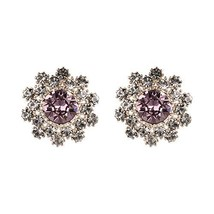 Yoursfs Clip on Purple Crytsal Earrings for Women Sparkly Wedding Jewelry - $12.73