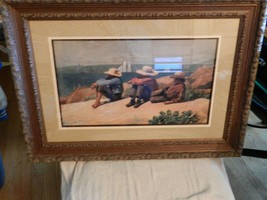 Nicely Framed Signed '75 print 3 Boys in Straw Hats On the Beach - $98.99