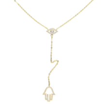 River Edge Jewelers .925 Yellow Sterling Silver Hamsa Evil Eye Necklace ... - $15.83