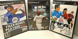 3 Play Station 2 Games Mlb 08 The Show, Fifa Soccer 2005, Tiger Woods Pga Tour 07 - $12.13