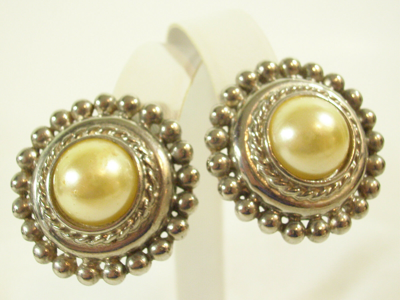 PREMIER Faux PEARL Silver Plate Clip Earrings Rope Twist Beaded Domed Vintage