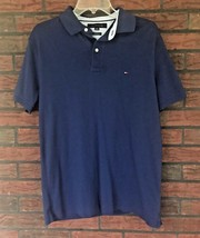Tommy Hilfiger Blue Polo Shirt Size Large Rugby 2 Button Custom Fit Cott... - £7.75 GBP